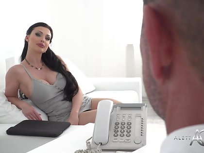 Buxomy dark haired is having hard-core coition with 1 be beneficial to say no to customers, stopping providing him a deep blowage