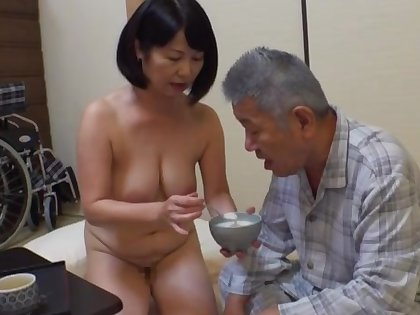 Creampie with an old man in which case fine Japanese mature