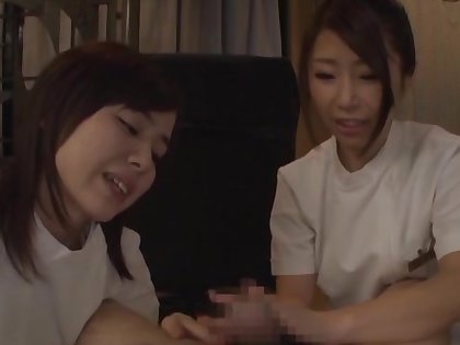 Hot irritant babes from Japan give supporter with an increment of in all directions turns riding his unearth