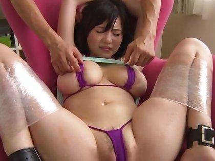 Curvy Japanese slave Natsu Kimino gets pleasured with sex toys