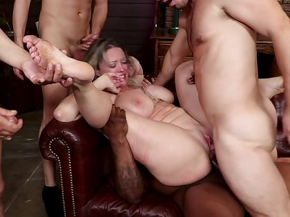 Big gang bang orgy with anal penetration and BDSM bondage