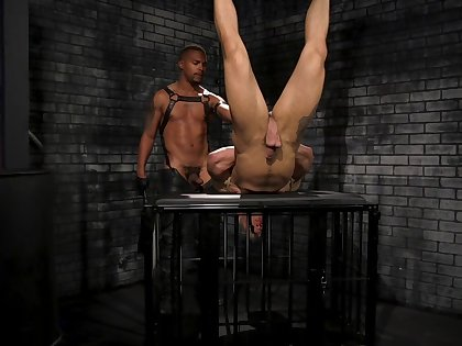 Injurious gay torture scene round a ball for a joke and clothespins for a slave