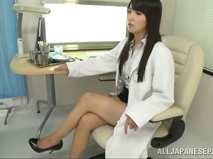 Long haired Asian doctor gives their way patient special treatment