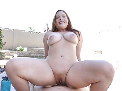 Redhead with huge boobs, full constant sex on a big dick in outdoor scenes