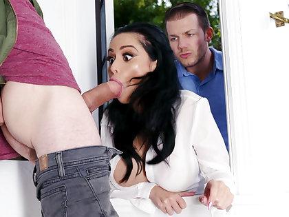 Lustful neighbors fucked hard busty become man