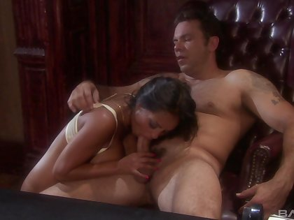Trimmed pussy pornstar Priya Anjali Rai gets sticky cum on her boobs