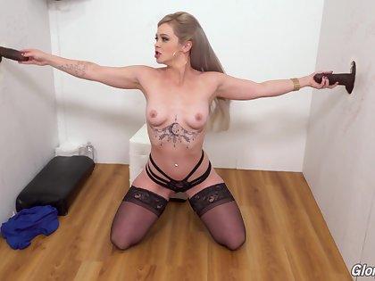 Blonde slut Kay Carter drops heavens her knees to please 2 black dicks