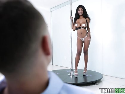 Ebony stripper Jordy Love gives a blowjob with the addition of gets screwed with the addition of jizzed