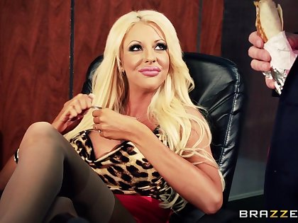 Lesbian babes Courtney Taylor and Nikki Benz fucked by a dude