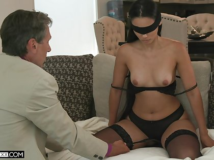 Blind-folded get hitched fucked by a guy older than her, her hubby's dad