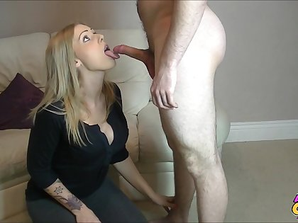 Dick stroking and sucking by sexy Kate Santoro in high heels