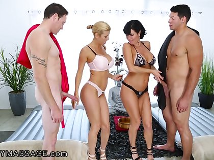 Cougar masseuses Alexis Fawx and Veronica Avluv are fucked by two horny the rabble