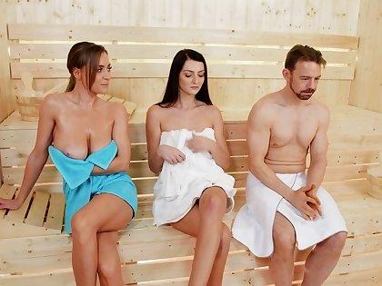 Oiled hottie Josephine Jackson gets fucked hard in the sauna