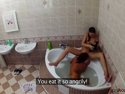 Lesbians Sanitize Each Other's Wet Pussies In The Bathtub