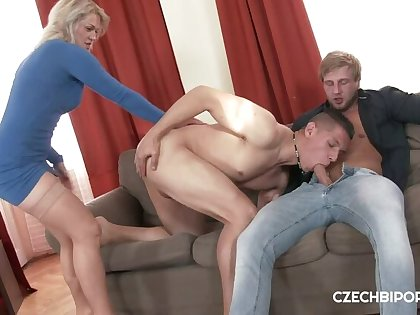 Gorgeous blonde joins two boys